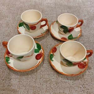 Franciscan Apple Set of 4 Coffee Cups & Saucers